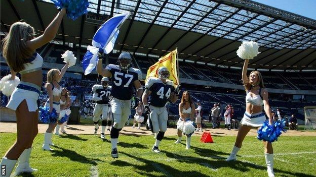 Murrayfield hosts the Scottish Claymores against Frankfurt Galaxy in 2002