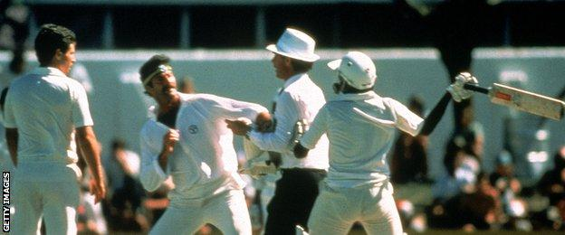 Dennis Lillee of Australia and Javed Miandad of Pakistan have a coming together