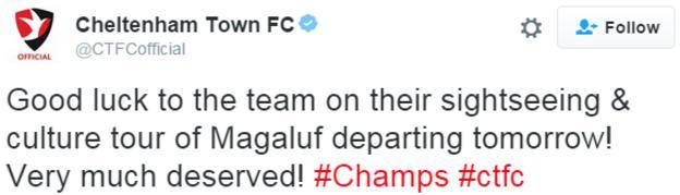 Cheltenham Town tweet