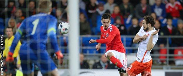 Tom Lawrence was Wales' brightest player in the first half