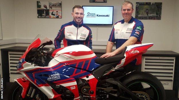 RAF Regular and Reserve Kawasaki team boss Lee Hardy with Paul Jordan earlier this month