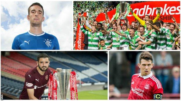 Scottish Premiership players and the league's trophy
