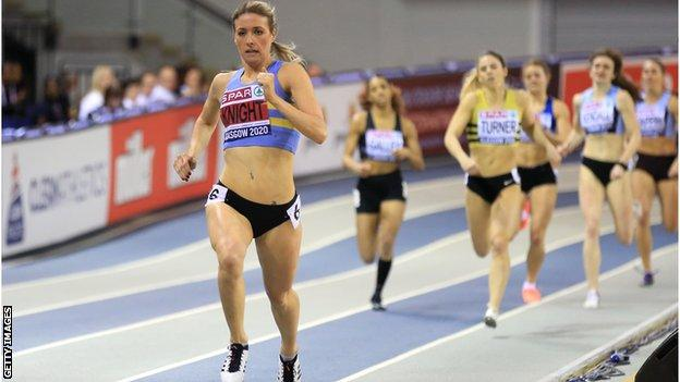 Jessie Knight on her way to winning the 400m at the Glasgow Grand Prix