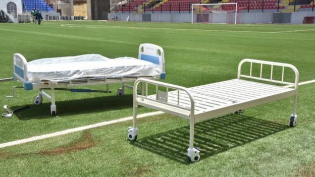 Beds in the Onikan stadium