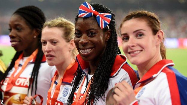 Great Britain women's 4x400m relay team (from right), Seren Bundy-Davies, Christine Ohuruogu, Eilidh Child and Anyika Onuora celebrate with their bronze medals