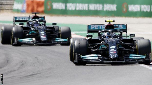 Valtteri Bottas ahead of Lewis Hamilton on track