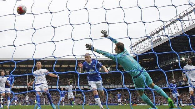 Everton forward Steven Naismith scores the opener against Chelsea