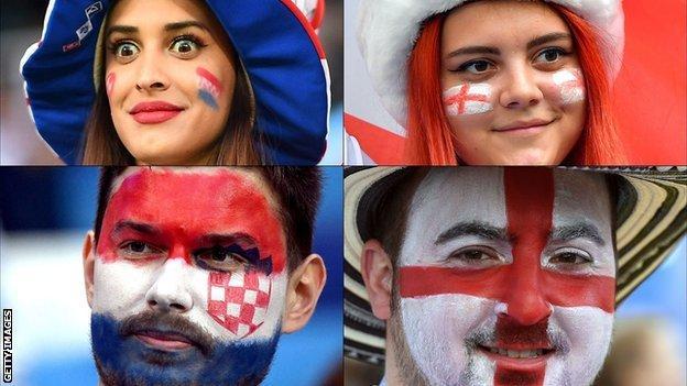 Croatia and England fans
