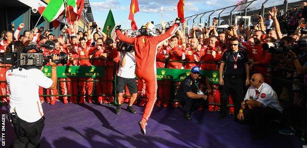 Ferrari F1 driver Sebastian Vettel celebrates winning the 2018 Australian Grand Prix