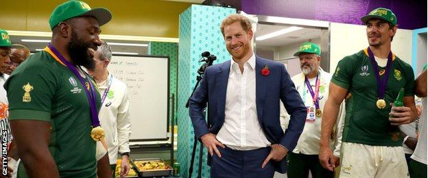 The Duke of Sussex pays a congratulatory visit to the Springboks dressing room