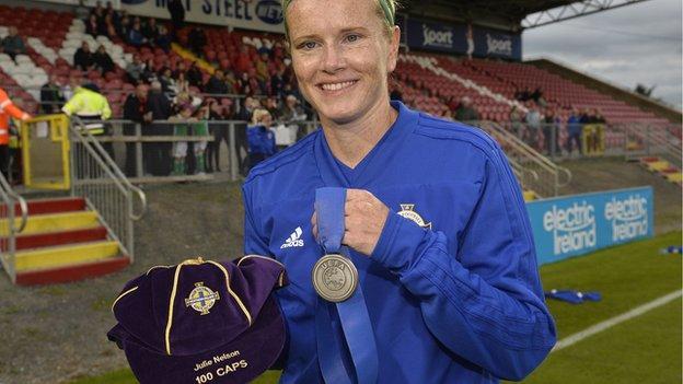 Julie Nelson won her 100th cap for Northern Ireland