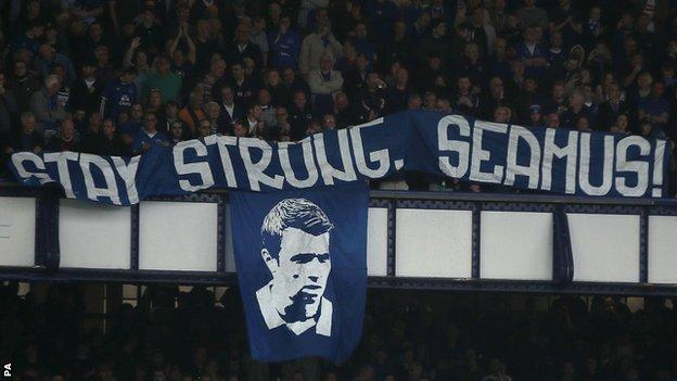 A message of support for Seamus Coleman was unfurled during Everton's Premier League match against Leicester City