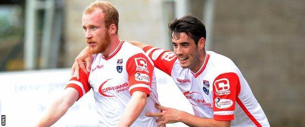 Liam Boyce celebrates scoring for Ross County