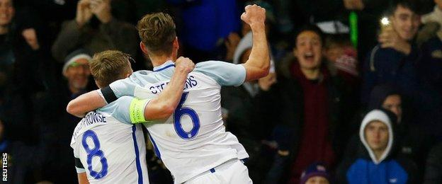 James Ward-Prowse and Jack Stephens in action for England Under-21s