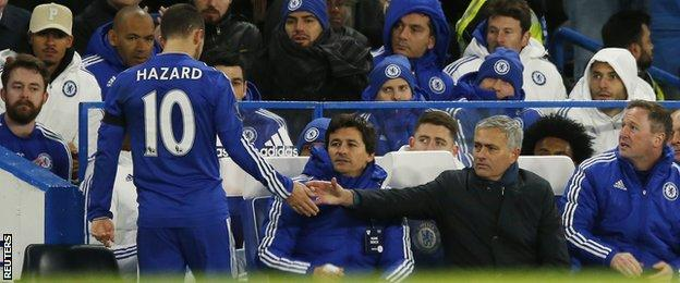 Eden Hazard is congratulated by manager Jose Mourinho after being substituted