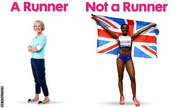 Volunteer 'runner' Alison Jones and Team GB sprinter Dina Asher-Smith