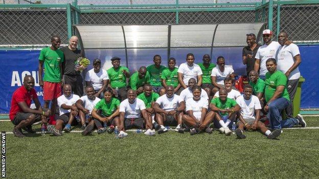Nchimunya Mweetwa (far left) at a match organised to raise awareness of the dangers of match fixing