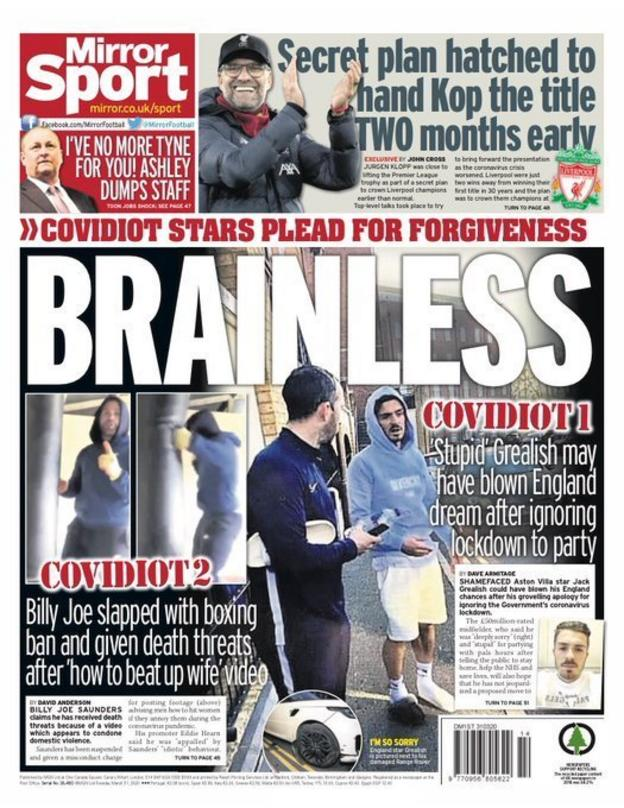 Mirror back page on Tuesday, 31 March