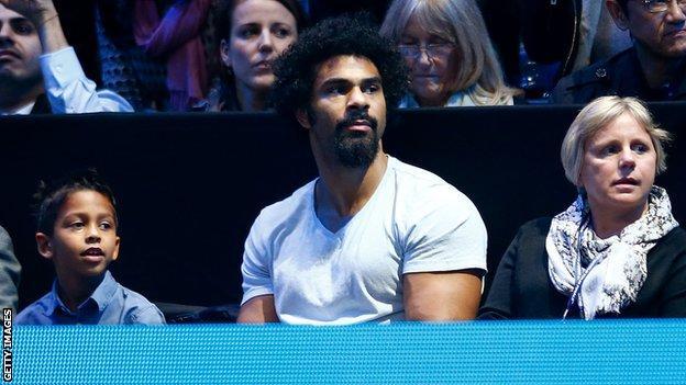 David Haye watches Novak Djokovic play Roger Federer at the O2 Arena
