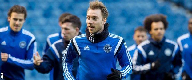Denmark midfielder Christian Eriksen in training at Ibrox