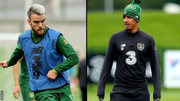 Aaron Connolly (left) is ruled by injury while Callum Robinson (right) will miss the Republic's three games over the next week after testing positive for Covid-19