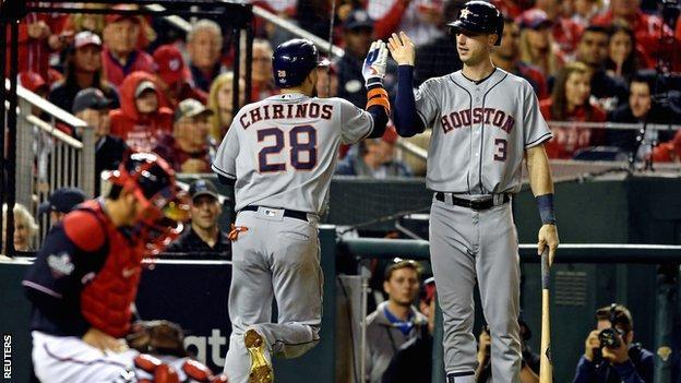 Houston Astros' Robinson Chirinos celebrates his home run