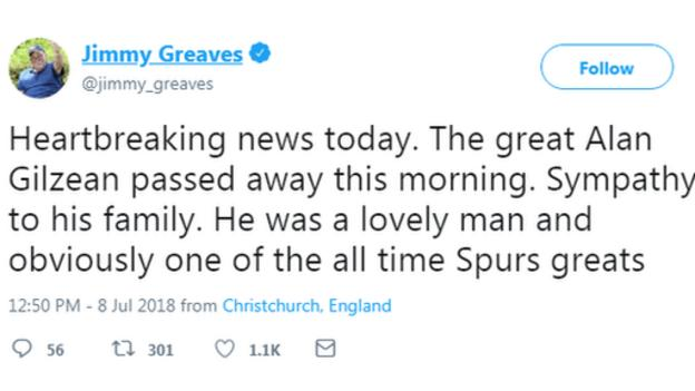 Tribute tweet from former Spurs team-mate Jimmy Greaves