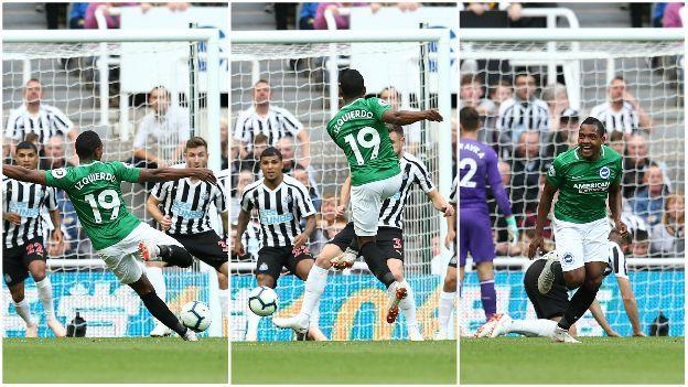 Jose Izquierdo scores against Newcastle