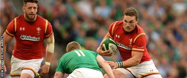 George North takes on the Ireland defence in Dublin