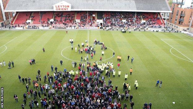 Leyton Orient fans protest against owner Francesco Becchetti
