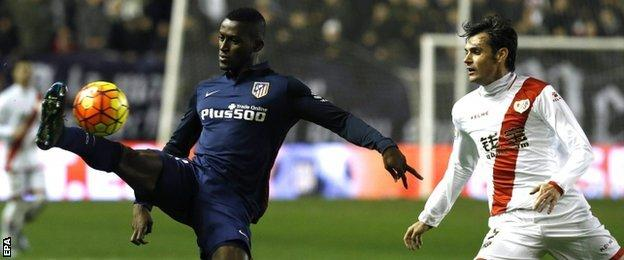 Jackson Martinez (left) in action for Atletico Madrid