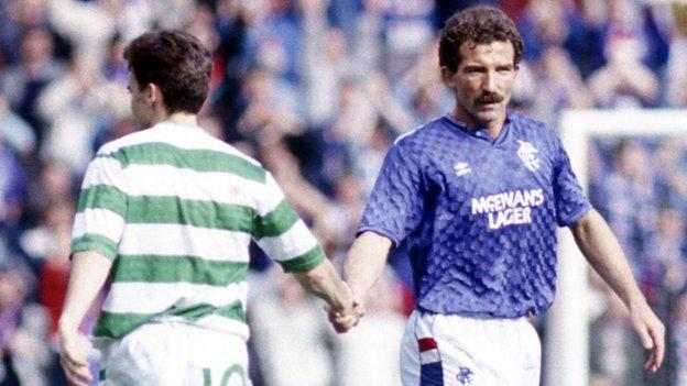 Graeme Souness playing for Rangers against Celtic