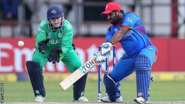Ireland wicketkeeper Niall O'Brien and Afghanistan's Mohammad Shahzad