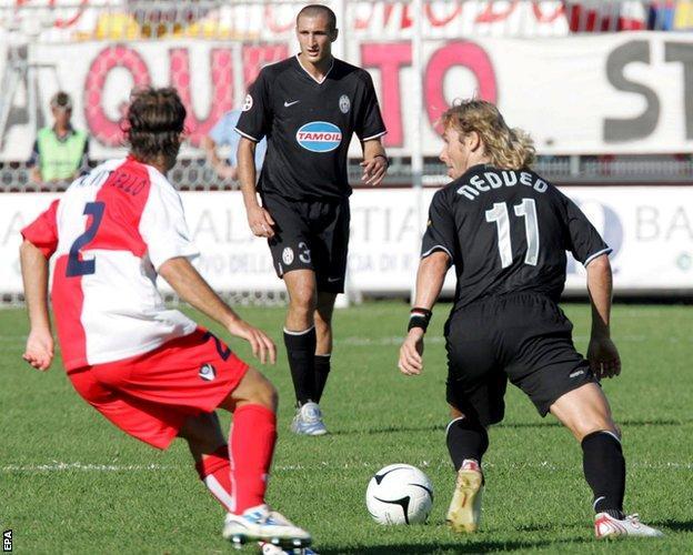 Pavel Nedved in action for Juventus against Rimini in Serie B