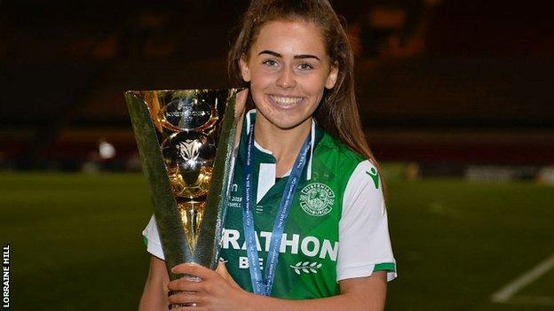 Hibernian's Jamie-Lee Napier with the Women's Scottish Cup