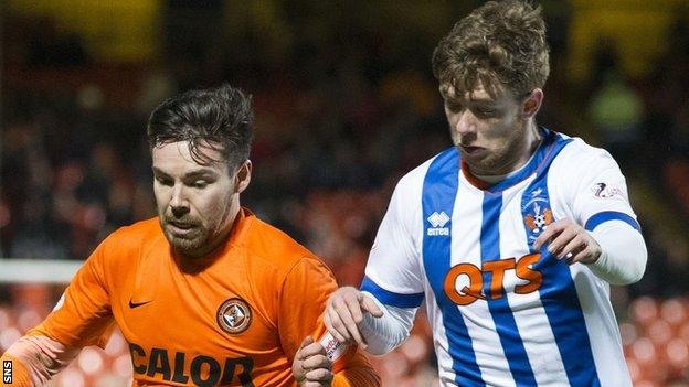 Dundee United's Ryan Dow and Kilmarnock's Stuart Findlay