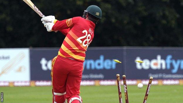 Brendan Taylor is bowled in his final game for Zimbabwe