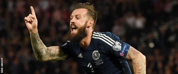 Scotland striker Steven Fletcher celebrates his goal against Poland