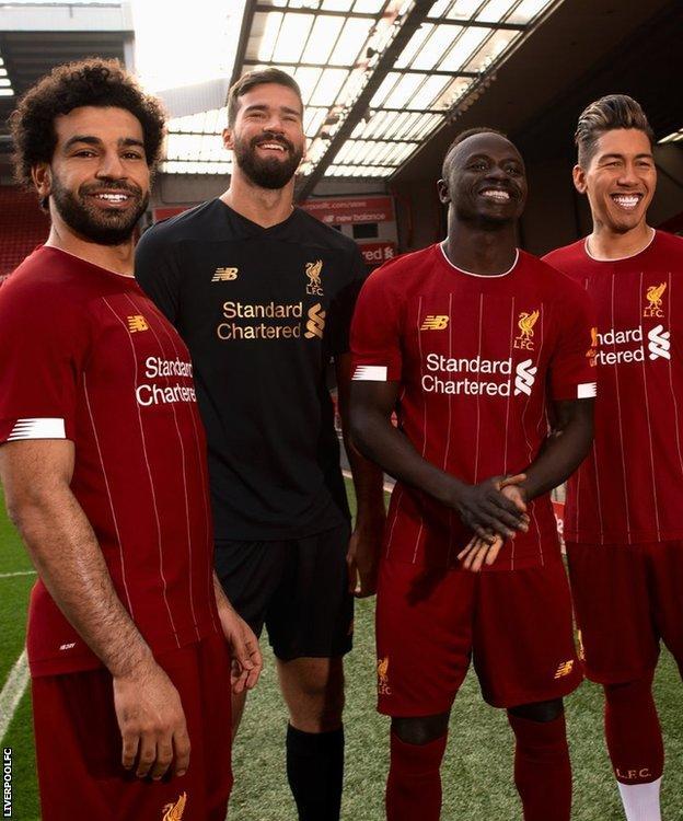 Liverpool players Mo Salah,