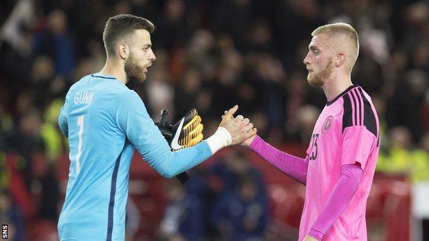 Angus Gunn shakes hands with Scotland U21 striker Oli McBurnie
