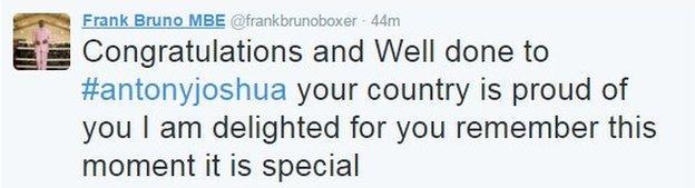 Frank Bruno tweet