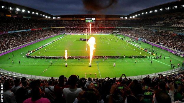 England beat New Zealand at International Stadium Yokohama in their semi-final