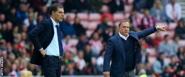 Sunderland boss Dick Advocaat (right) and West Ham United manager Slaven Bilic