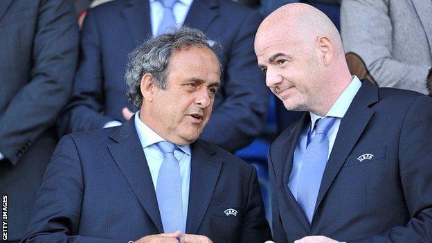 Michel Platini and Gianni Infantino