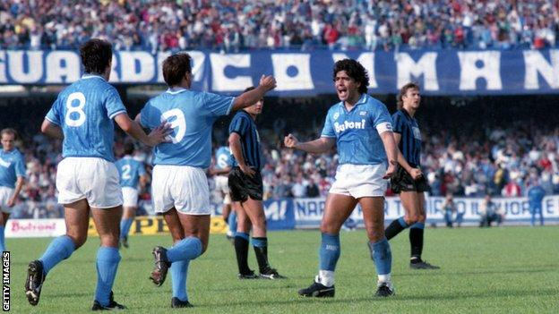 Diego Maradona celebrates scoring for Napoli in 1986