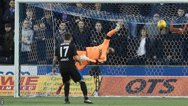 Rangers goalkeeper Wes Foderingham is beaten by the ball