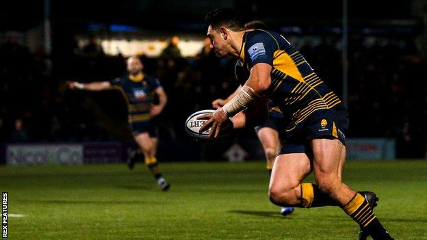 Bryce Heem crossed deep into added time for Worcester- his second try of the game