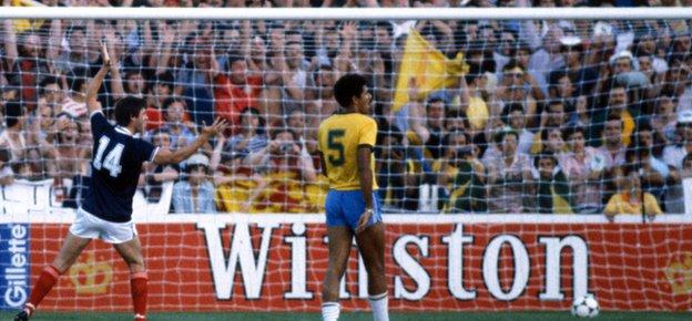 Dave Narey (left) scoring against Brazil in the 1982 World Cup