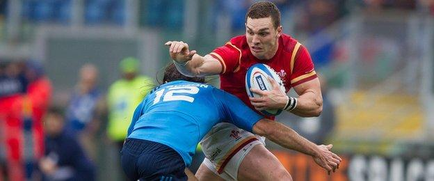 George North in action for Wales against Italy