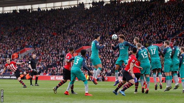 James Ward-Prowse scores with a 25-yard free-kick for the winner in a recent 2-1 victory over Tottenham